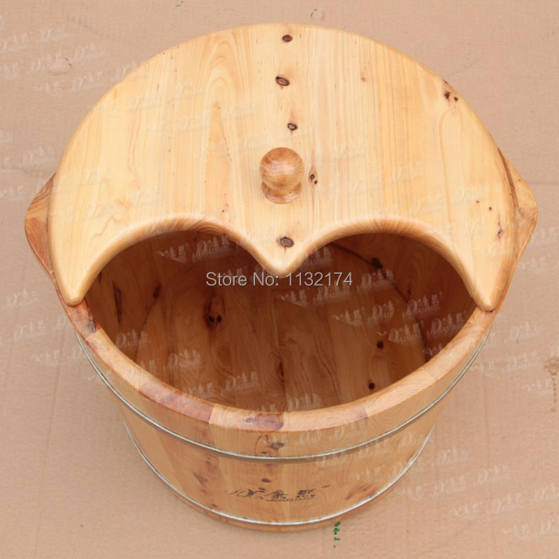 KX Top Sale Natural Chinese Wood Foot Soak Tub Bucket With Lid Herb ...