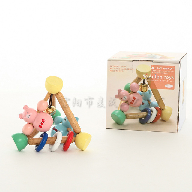 Toy placarders 0-1 year old toys eco-friendly wooden infant puppet wooden toy early education exported Japan environmantal bear