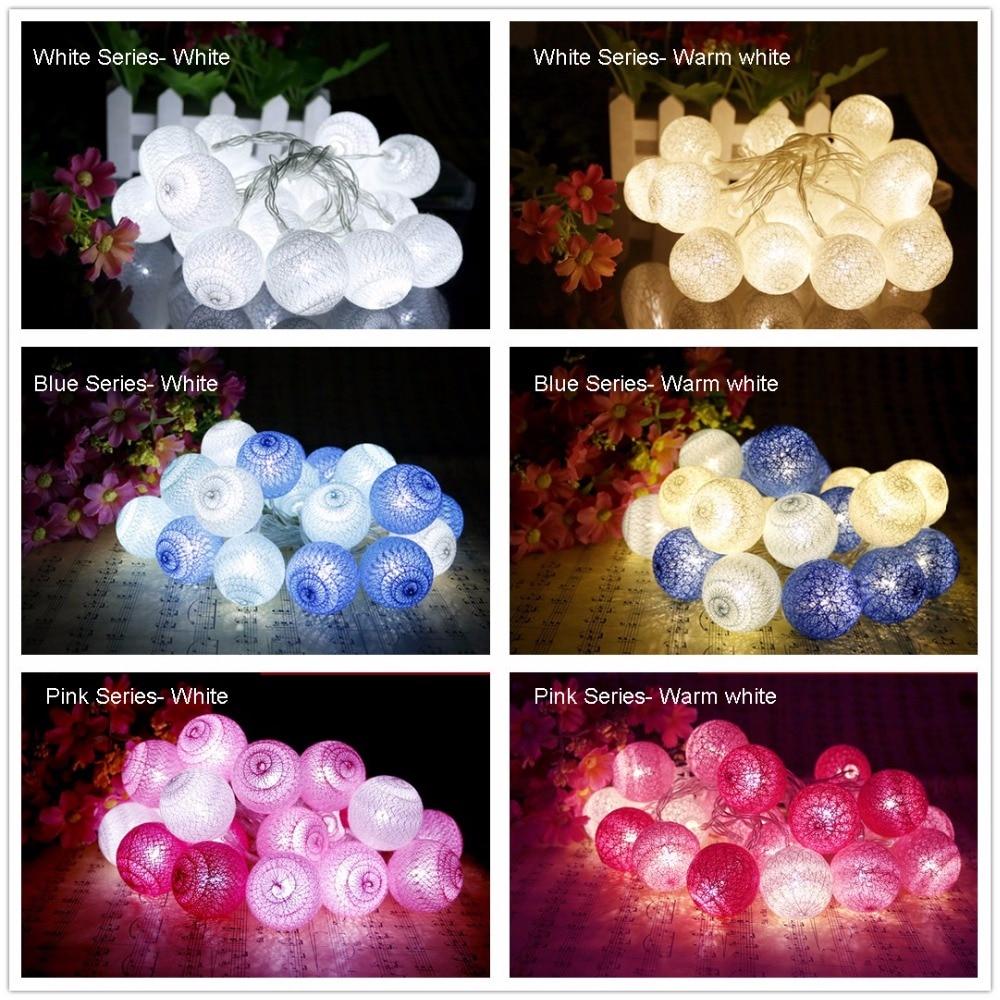 Piłka bawełniana LED Light string 10Leds Lampa świąteczna Pink - Oświetlenie wakacje - Zdjęcie 5