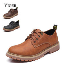 YIGER New Men's Leisure Shoes Men's Casual Lace-up Shoes Large Size Anti-skid wear-resistant rubber soles men's flat shoes 0075