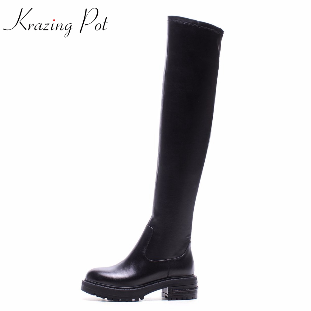 Krazing Pot fashion cow leather solid round toe slip on stretch thigh high boots streetwear model riding over-the-knee boots L99