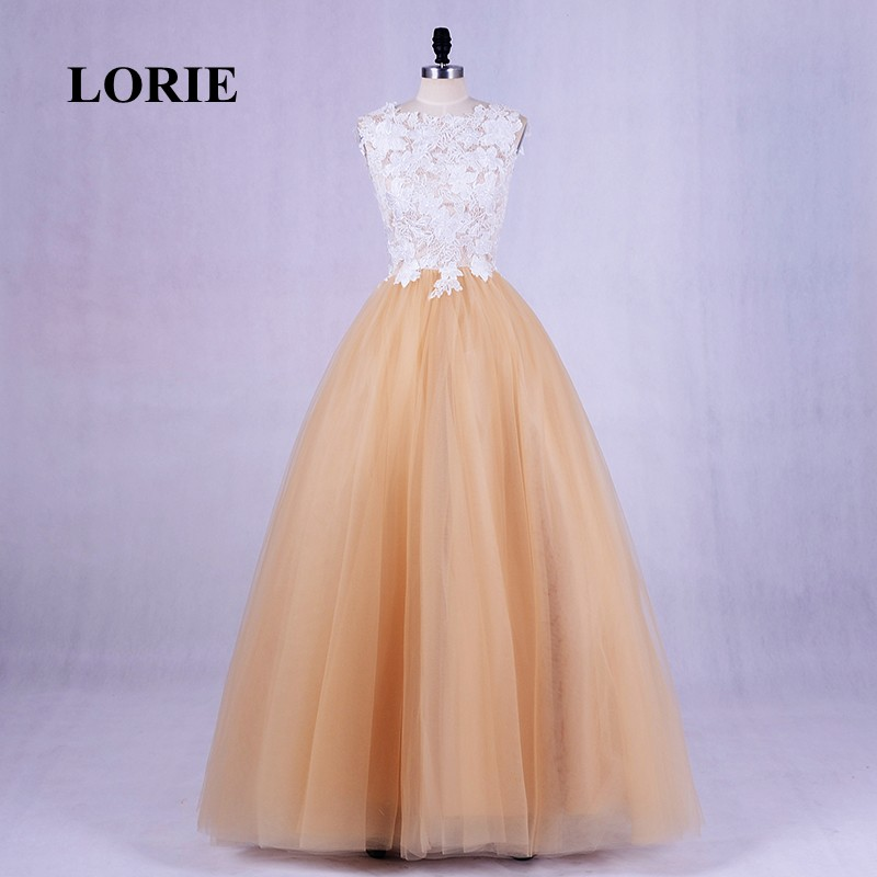 LORIE Plus Size Prom dress for Graduation O Neck Appliques Lace A Line Women Wedding Party Dress Formal Evening Gown balo elbise