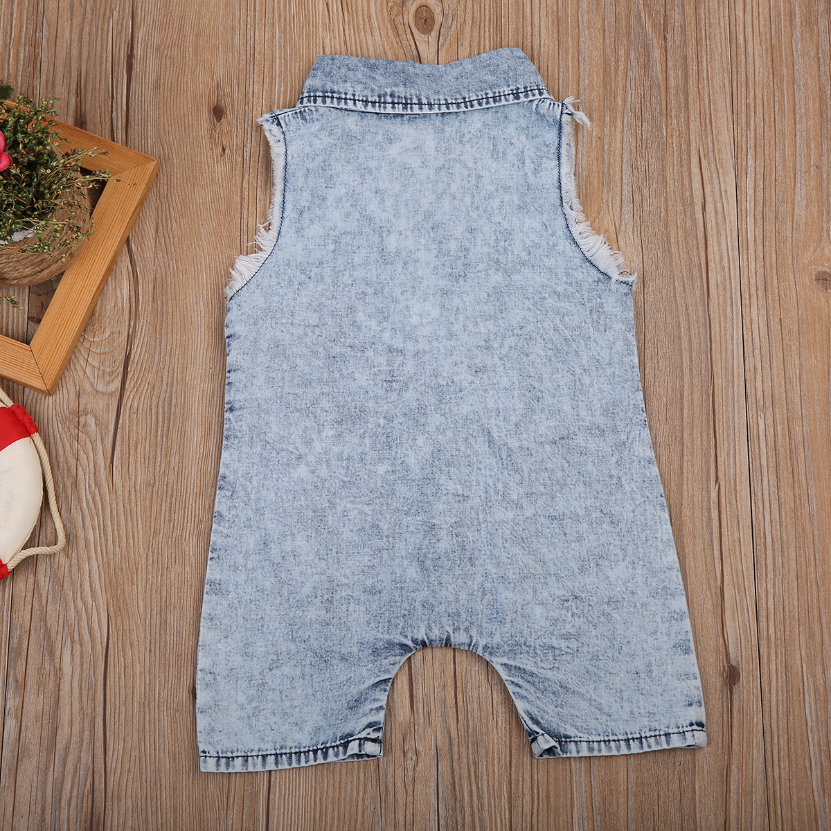 37d69c0aa4be Denim Newborn Baby Turn Down Collar Romper Infant Boy Girl ...