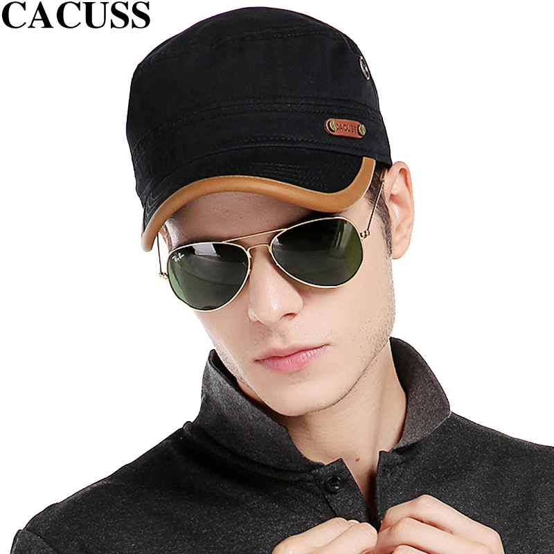 CACUSS brand Casual Men high quality Cotton Army Cap Leather Visor Baseball  Caps Boys Flat Top Hats Hot Sale trave hats-in Baseball Caps from Apparel  ... 761a1feef06e
