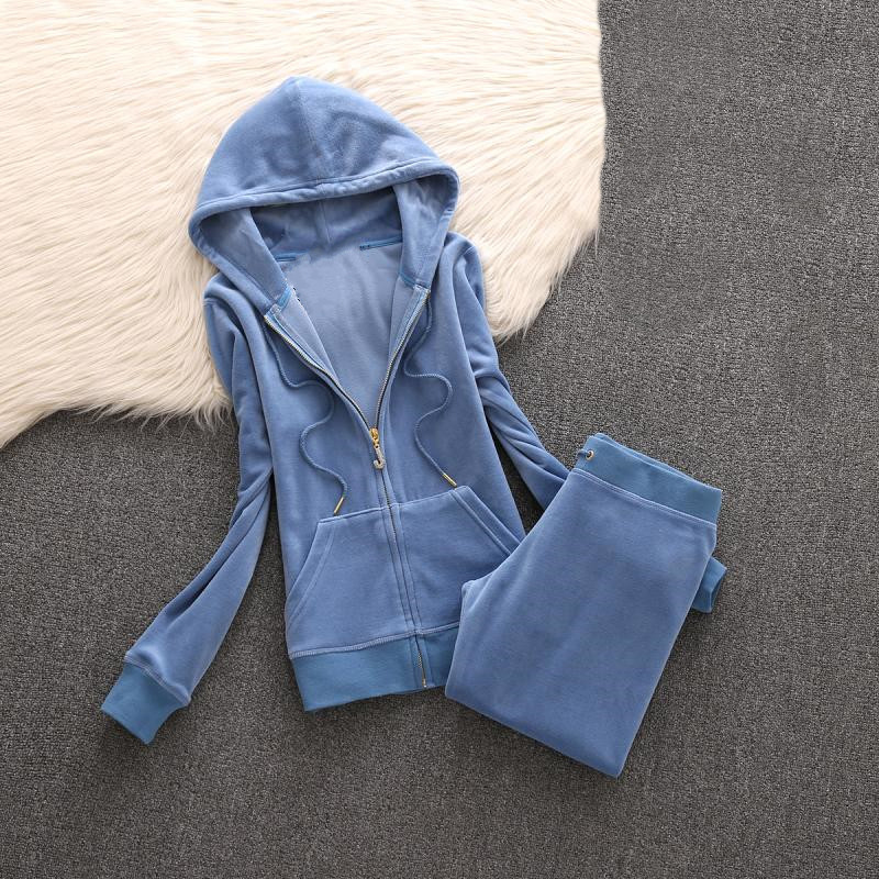 2019 Women'S Brand Velvet Fabric Tracksuit pant suits Velour Suit Women Track Suit Hoodies And Pants black title=