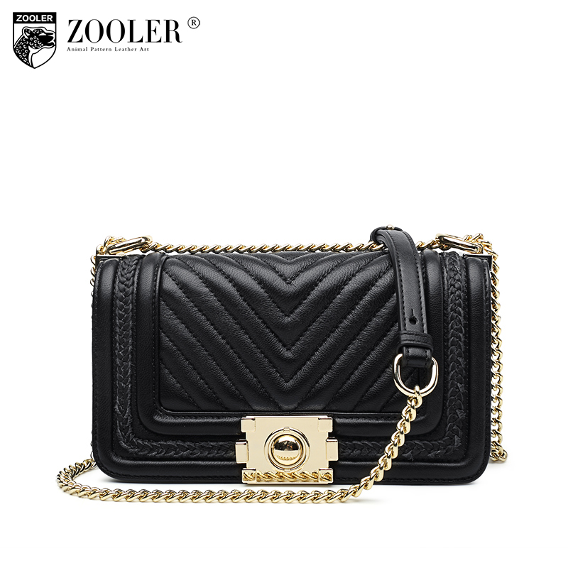 Fashion Genuine leather bag ZOOLER woman shoulder bags sheepskin luxury handbags women bags designer bolsa feminina #E106 zooler 2018 luxury genuine leather bag for woman chain shoulder bag designer woman fashion cross body bags bolsa feminina bc100