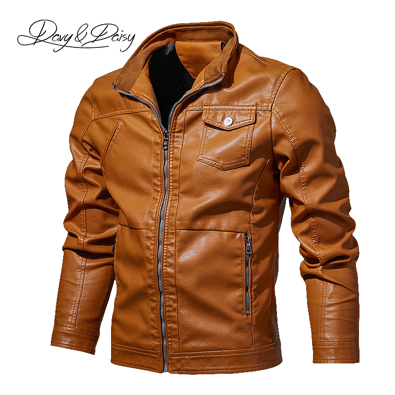 DAVYDAISY 2019 High Quality Men PU Leather Jacket Men Spring Autumn Stand Collar Casual Dress Leather Coat Plus Size 6XL DCT-257