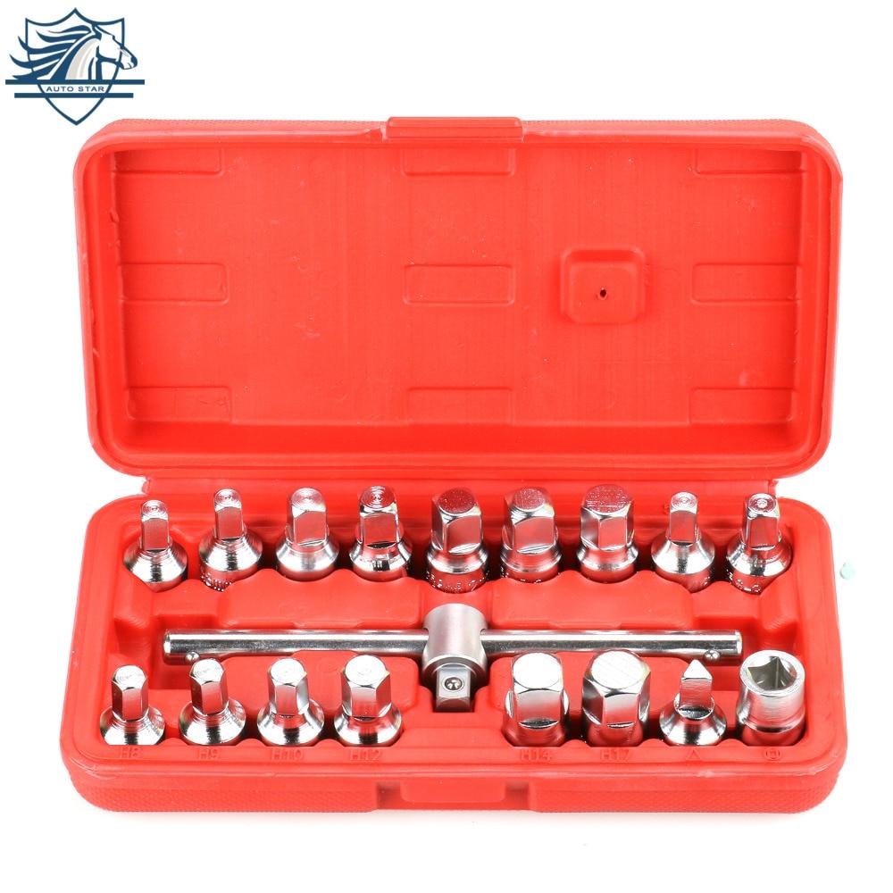 18PCS Oil Drain Pipe Plug Socket Set Oil Pan Screw Sleeve Wrench 3/8-Inch Drive Sliding T-bar Removal Kit