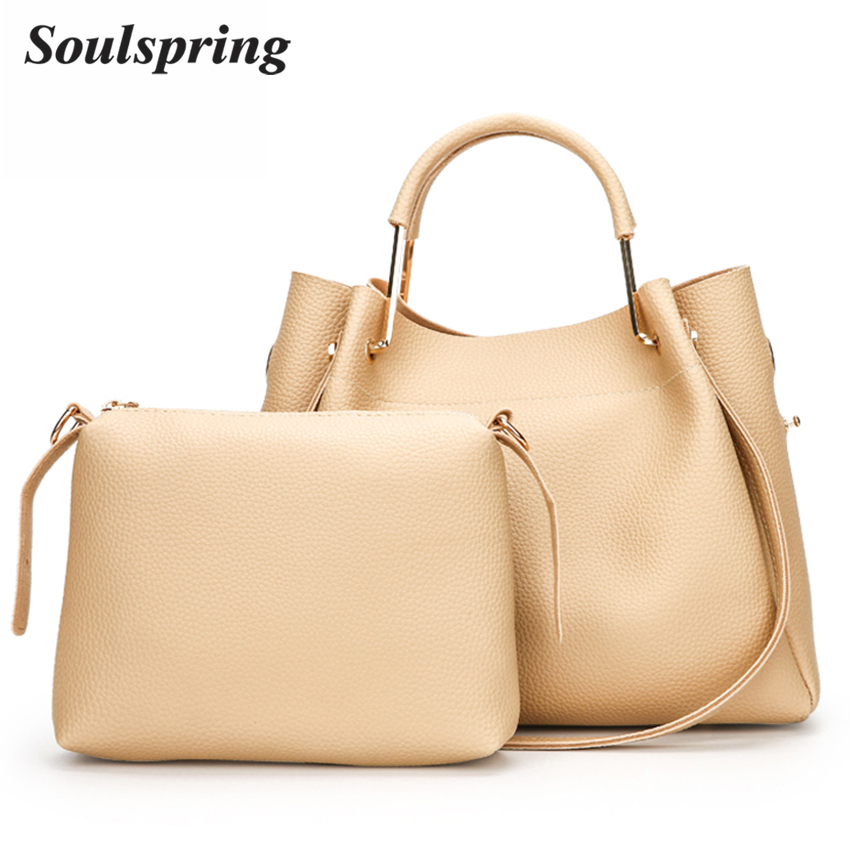 2017 Fashion Composite Bags Handbags Women Famous Brands Tote Bag Designer Handbags High Quality Ladies Hand Bags Solid 2Pcs Sac aosbos fashion portable insulated canvas lunch bag thermal food picnic lunch bags for women kids men cooler lunch box bag tote