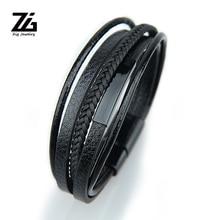 ZG Men PU Wedding Exquisite Leather Boys Beautiful 2019 New Arrival Zinc Alloy Hot Sale Bracelet Weave Black Punk недорого