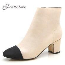 8fa1d9a4 Size33-41 estilo occidental nuevo suave de cuero genuino de mujer Tacón  cuadrado zapatos OL tacones gruesos tobillo botas de inv.