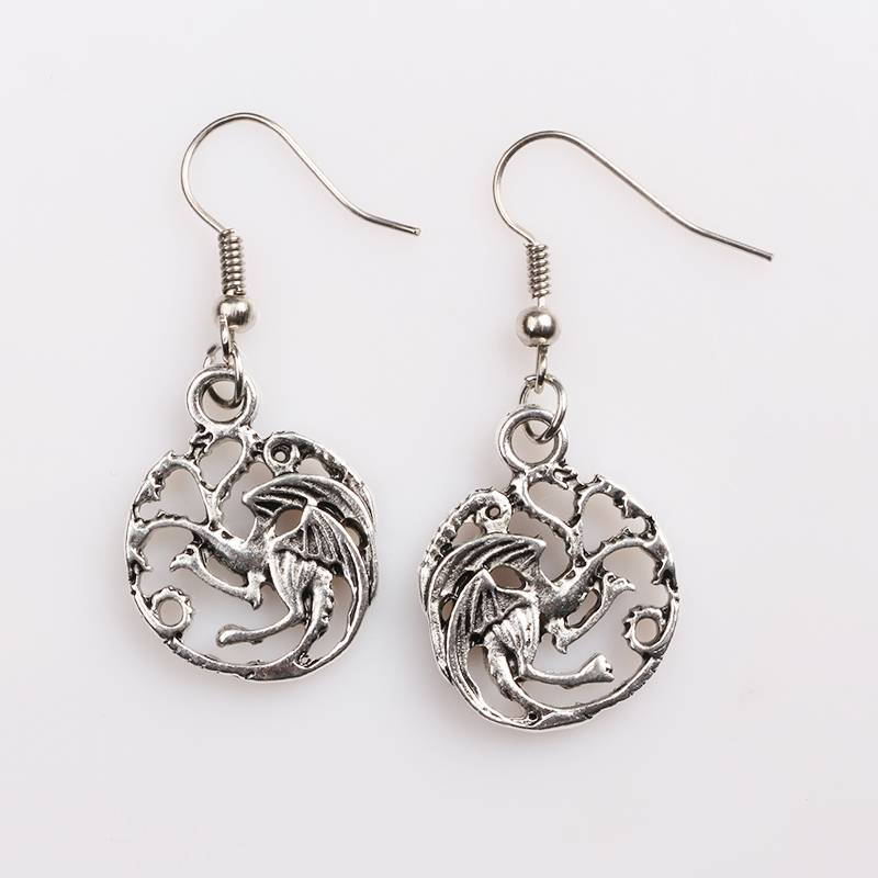 RJ New Film Game Of Thrones Stark Wolf Stud Earrings The Ice And Fire Of Song Luminous Dragon Earrings Women Men Gift Brincos