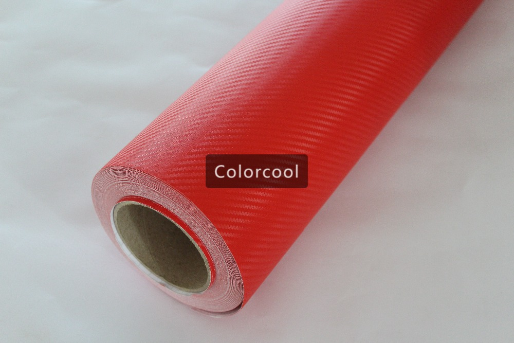 RED 3D carbon fiber vinyl film car sticker for automobile and electronics with Air Bubble Free For Car Wrap