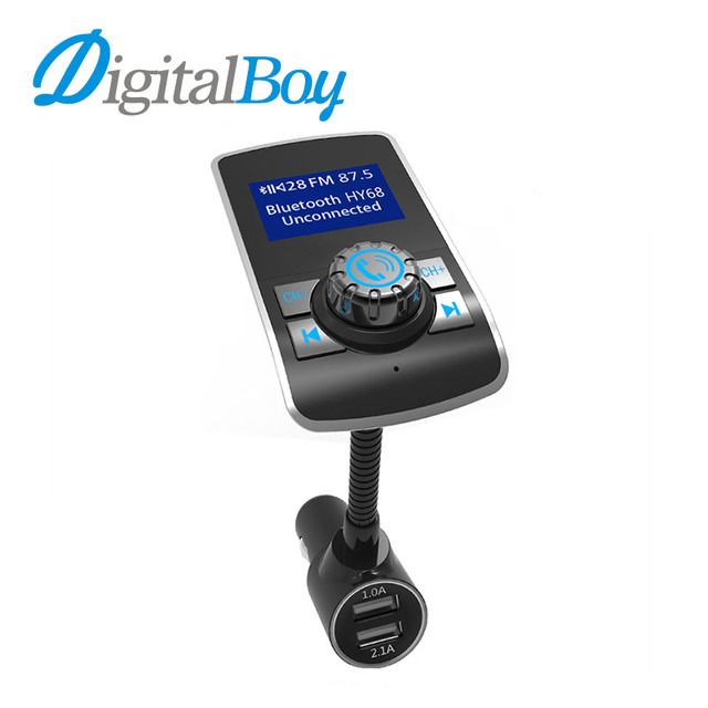 Digitalboy Car Mp3 Player Handsfree Car FM Transmitter Modulator Music Player Big Screen Bluetooth Car Kit Dual USB Car Charger