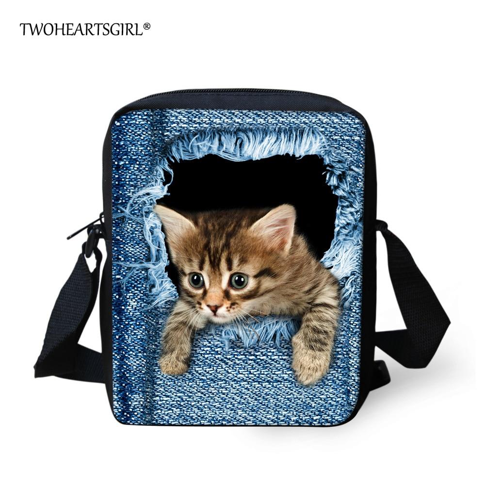 TWOHEARTSGIRL Kadın Kızlar için Sevimli Denim Kedi Haberci Çanta - Çanta