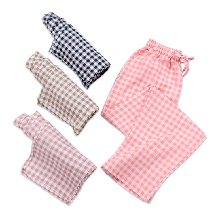 Simple Plaid Soft Summer Sleep Bottoms Women 100% Gauze Cotton Ladies Pajamas Home Trousers Sleep Pants Sheer Pants Women