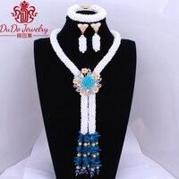 2017 Amazing Royal Blue White Nigerian Wedding Jewelry Sets Dubai Costume Choker Necklace Bride Set Of African Beads Fashionable
