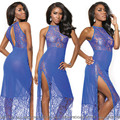 Sexy lace Nightgown high slit see-through dress female slim package hip long blue temperament evening wd-629746
