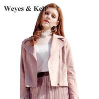 Weyes & Kelf Spring Solid Bomber Jacket For Women 2018 Long Sleeve Pink Short Deer Velvet Jacket Women Coat Women Woman Bikers