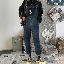Spring Autumn Contrast Print Denim Jumpsuits Women Vintage Fashion New Jean Overalls for Loose Long Pants Jumpsuit