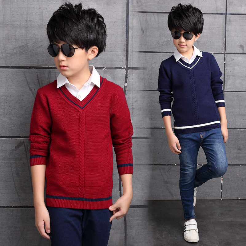 Children's clothing sweater autumn and winter new boys sweater V-neck pullover sweater big children fashion bottoming shirt geometric crew neck space dyed sweater