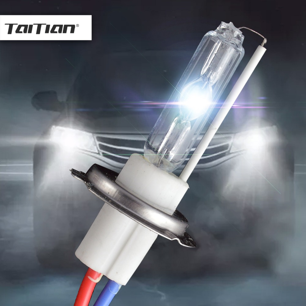 Taitian 2Pcs 12V 100W bulb h7 super white Hid Xenon Kit 6000K 4300K Canbus Xenon h7 car lamps for audi opel ford benz bmw e30