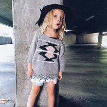 Instagram горячая распродажа детская кисточкой вязание девушки платье геометрические дети шаблоны платья чистого хлопка девушки одежда