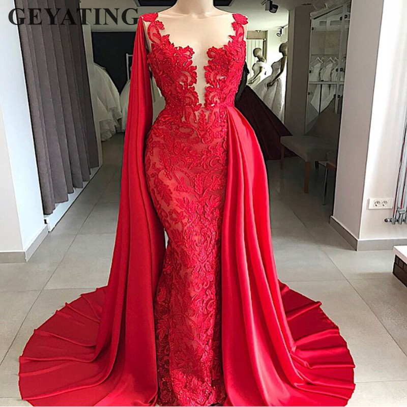 Saudi Arabic Red Mermaid Lace   Evening     Dress   2019 Elegant Long Formal Gowns with Cape Special Occasion Prom   Dresses   in Dubai