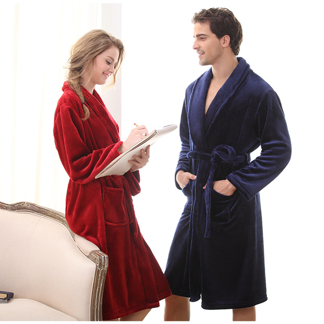 be008bae6a Luxury Men Women Winter Long Warm Bathrobe Super Soft Flannel Bath Robe  Mens Coral Fleece Kimono