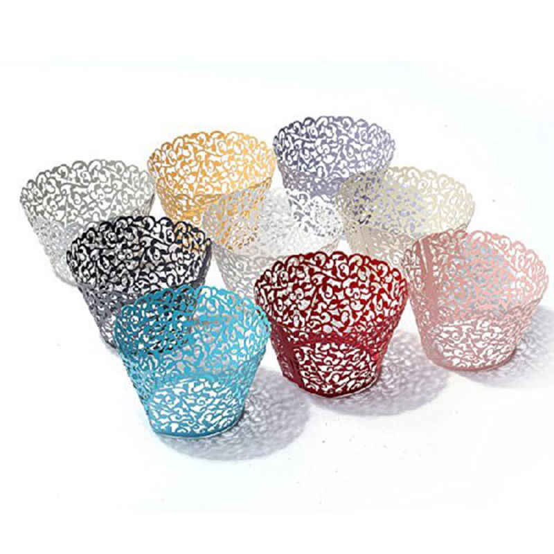 50PCS Hot Sanwony Little Vine Lace Laser Cut Cupcake Wrapper Liner Baking Cup Hollow Paper Cake Cup DIY Baking Fondant Cupcake