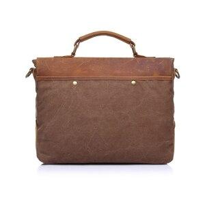 Image 3 - Augur nova moda masculina do vintage bolsa de couro genuíno bolsa de ombro saco do mensageiro portátil maleta mochila caber 14 polegada portátil