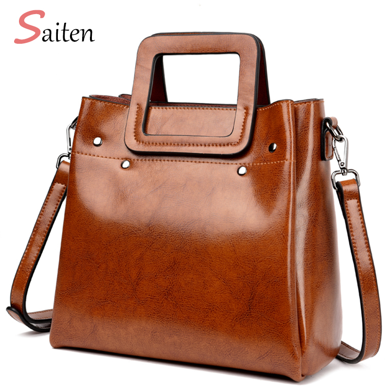 Handbags Women Messenger Bags Genuine Leather Women Bags Retro Handbags Famous Brand Fashion Casual Ladies Shoulder Bag Bolsa chispaulo women genuine leather handbags cowhide patent famous brands designer handbags high quality tote bag bolsa tassel c165