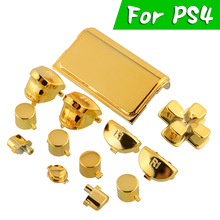 Fashion Full Buttons Mod Set Chrome Gold For Playstation 4 PS4 Controller Joystick Video Game Playstation