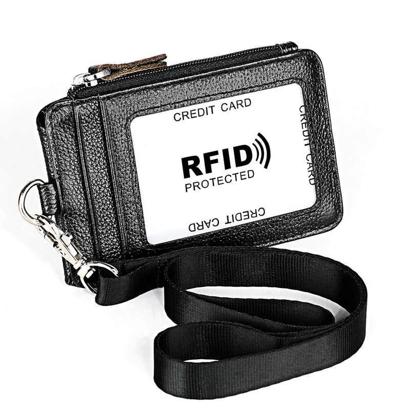 ของแท้หนังธุรกิจ ID/ผู้ถือป้ายกรณี Lanyard กระเป๋าสายคล้องคอสายคล้องคอชื่อการ์ด Id Lanyard หน้าอกการ์ดทำงาน Pass
