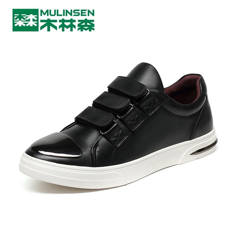 ФОТО MuLinSen Men's Sports Skateboarding shoes black/blue Leather Wear Non-slip Outdoor Sport Shoes Traning Sneakers 260081