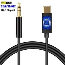 Typ C zu 3,5mm Männlichen AUX Digital Audio Kabel DAC 32 Bits/384 KHZ für Kopfhörer Headset Auto lautsprecher Google 2/2XL/3/3 XL Mate 20