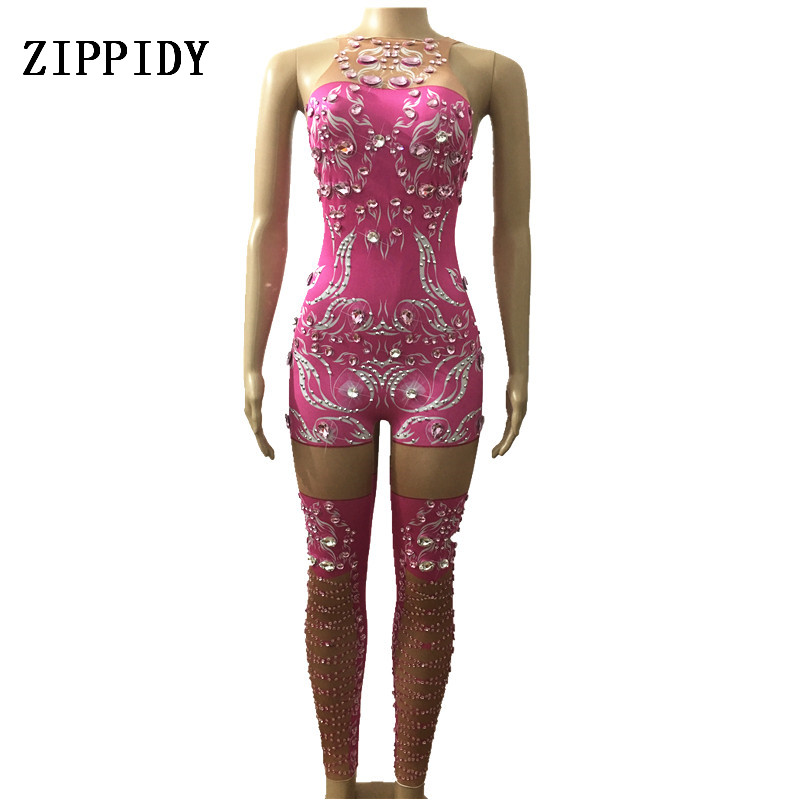 Sparkly Pink Crystals Jumpsuit Women Birthday Celebrate Outfit Costume Female Singer Bling Bodysuit Performance Dance Wear