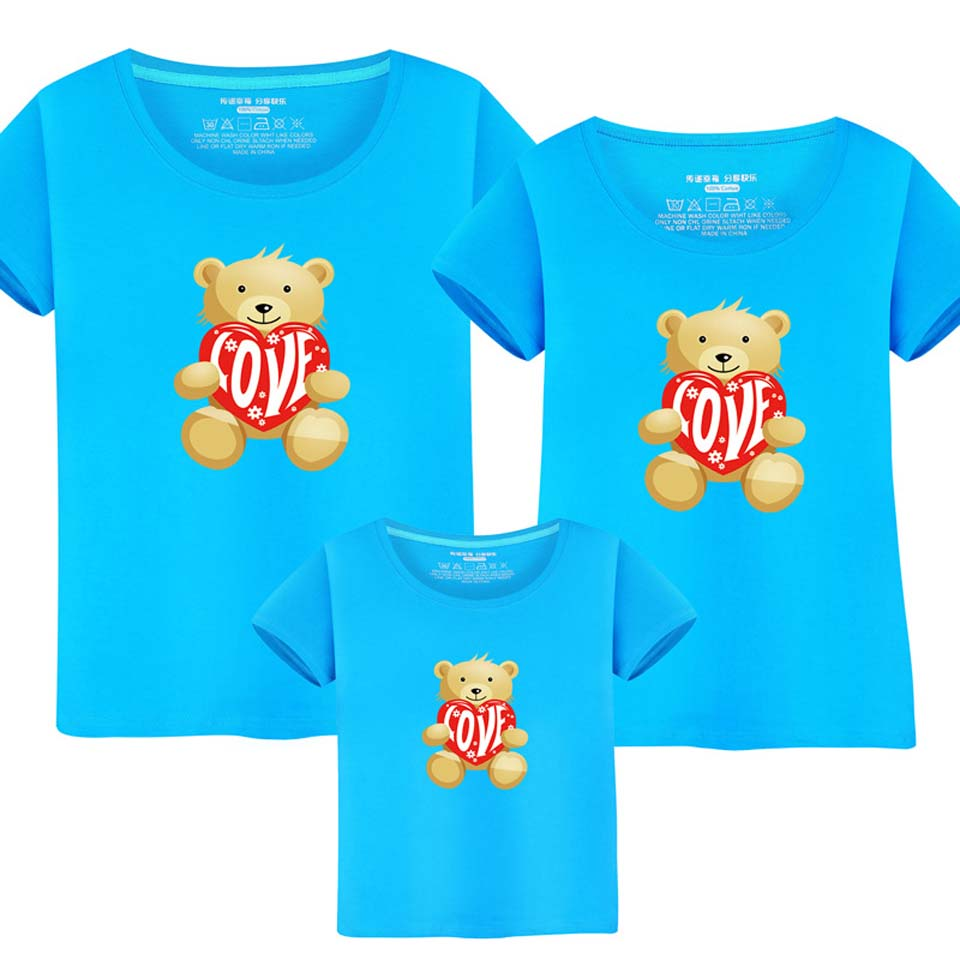 Family Sets T Shirt Cute Bear Dad and Me Clothes Mother Kids