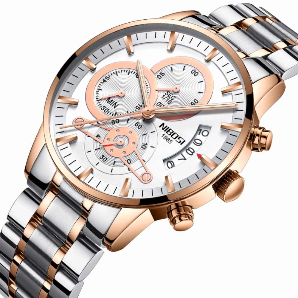 Nibosiメンズ腕時計トップブランドの高級ファッション時計男性スポーツクォーツ時計フルスチールビジネス防水時計レロジオmasculino