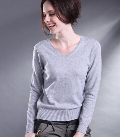 Women Autumn Winter Cashmere Blend Sweater V-Neck Pullovers Long Sleeve Jumpers Womens Knitted Sweaters S-XXL Gray Red
