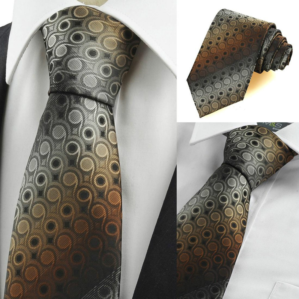 Mens Tie Unique Brown Whiskey Color Gradient Swirl Paisley Neck Ties Necktie Suit Casual Formal Events Wedding holiday gift - xtopmall store