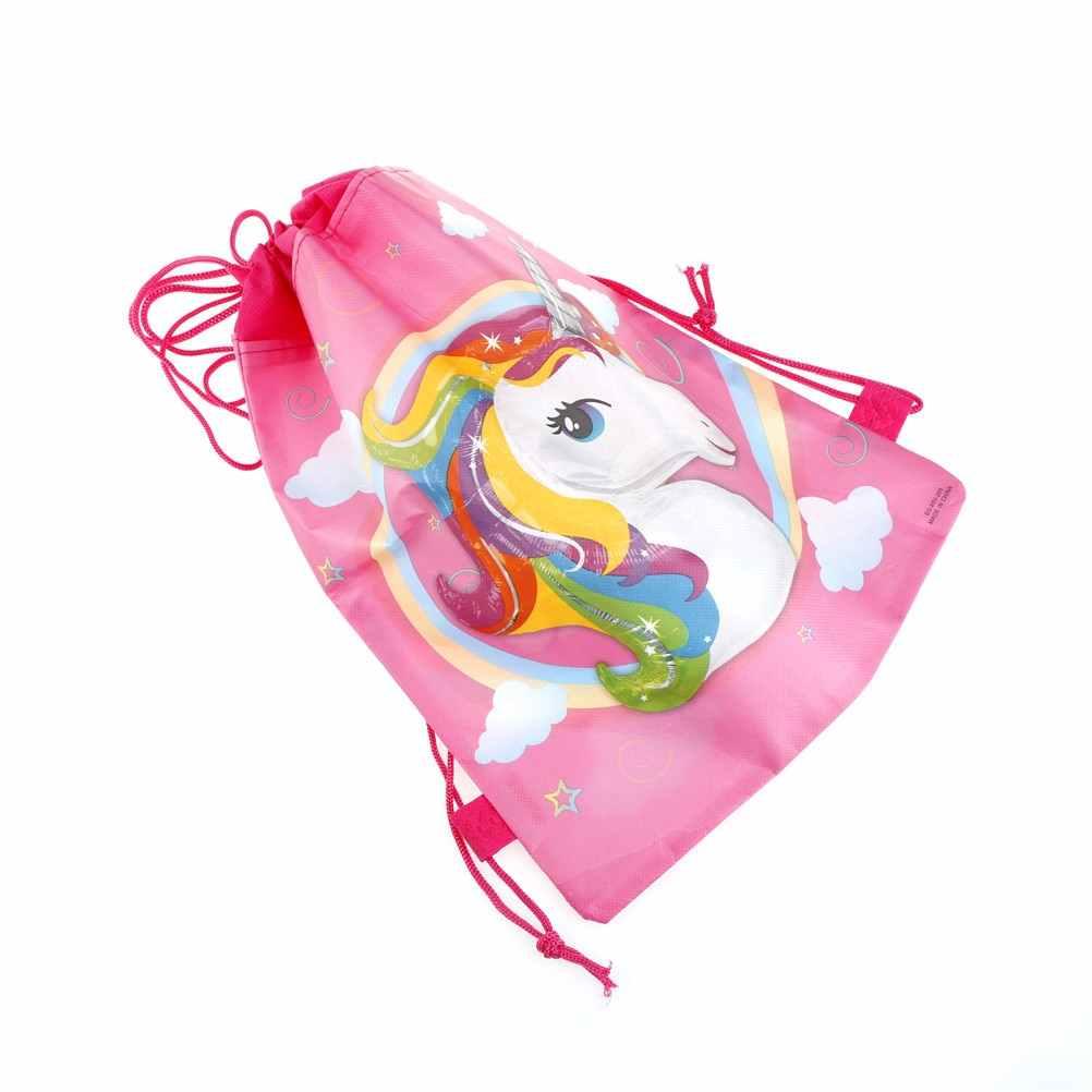 3 stijlen Mode Cartoon Thema Eenhoorn String Tassen Kinderen Terug Zakken 35.5*28cm Eenhoorn Tasje