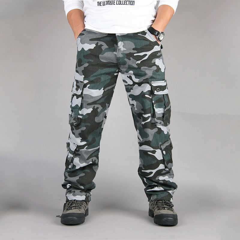 Camo Cargo Pants Men Military SWAT Pants Army Soldier Combat Active Trousers Male Casual Loose Camouflage Pocket Cargo Trousers