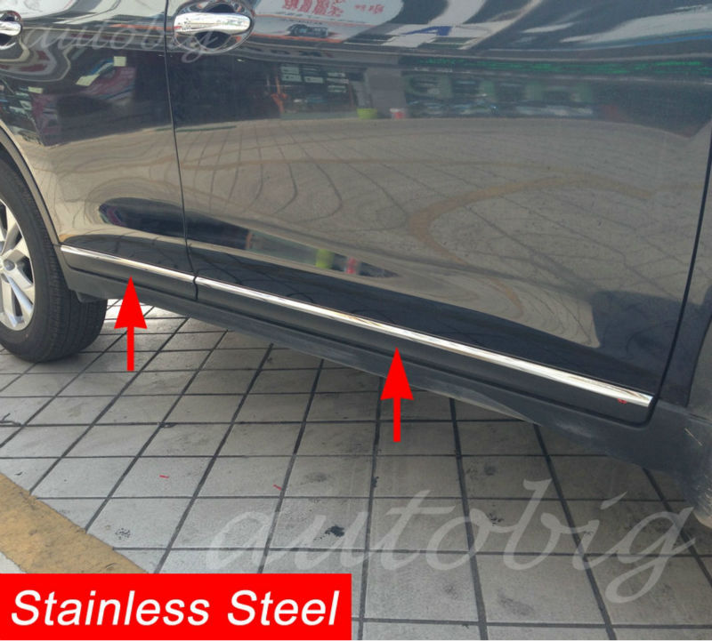 Stainless Steel Door Body Side Molding Strip Trim Cover FOR Nissan X Trail Rogue T32 2014