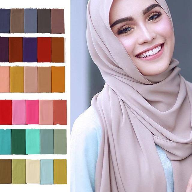 2019 women hijab scarf solid chiffon soft lady shawls and wraps long size pashmina bandana foulard female silk scarves headband