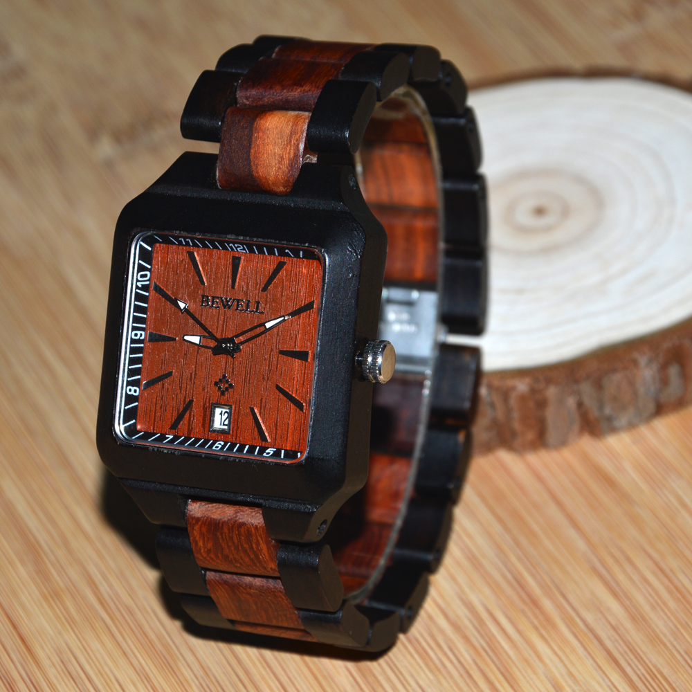 BEWELL Wood Watch Maple Wood Quartz Watch Square Dress Wrist watch Full Wood with Calendar Daily