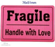 200 ชิ้น/ล็อต,76x51 มม.FRAGILE HANDLE WITH LOVE การจัดส่งป้ายสติกเกอร์การออกแบบที่น่าประทับใจ,หมายเลขสินค้า SS09