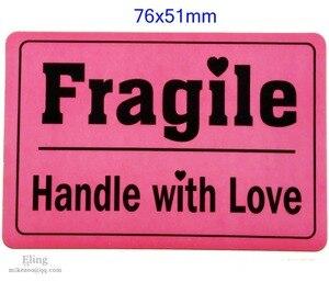 Image 1 - 200 Stks/partij, 76X51 Mm Breekbaar Handvat Liefde Verzending Label Sticker Indrukwekkend Ontwerp, Item Geen. SS09