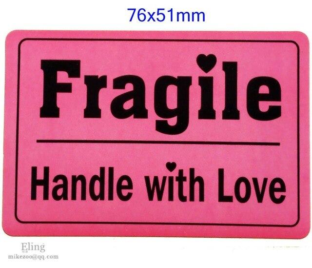 200 Stks/partij, 76X51 Mm Breekbaar Handvat Liefde Verzending Label Sticker Indrukwekkend Ontwerp, Item Geen. SS09