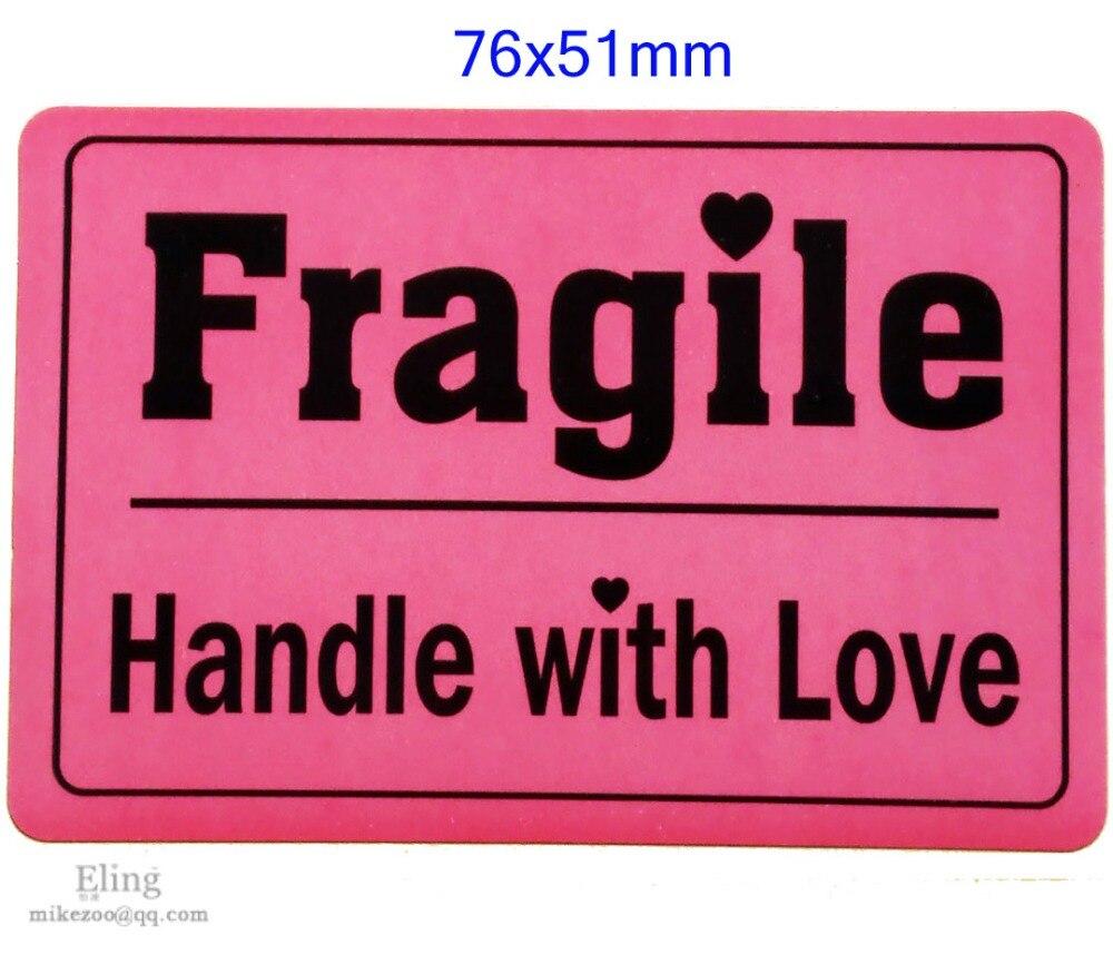 200 Pcs/lot, 76x51mm FRAGILE HANDLE WITH LOVE Shipping Label Sticker Impressive Design, Item No. SS09